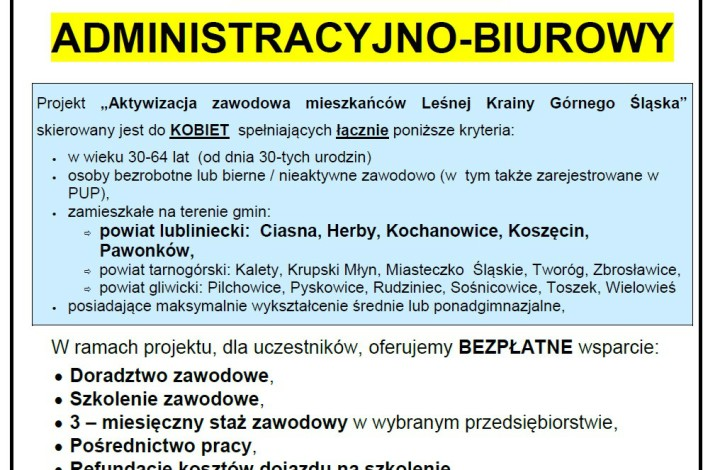 """Bezpłatne  szkolenie ,,Pracownik administracyjno-biurowy""""!"""